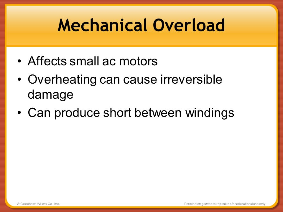 Mechanical Overload Affects small ac motors