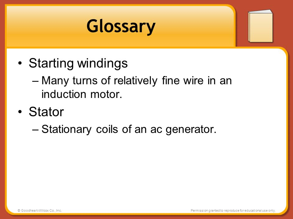 Glossary Starting windings Stator