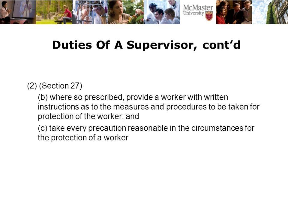 Duties Of A Supervisor, cont'd