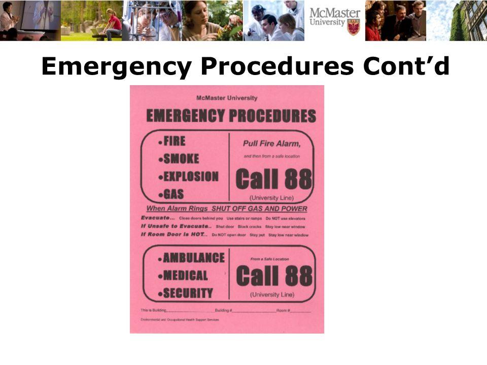 Emergency Procedures Cont'd