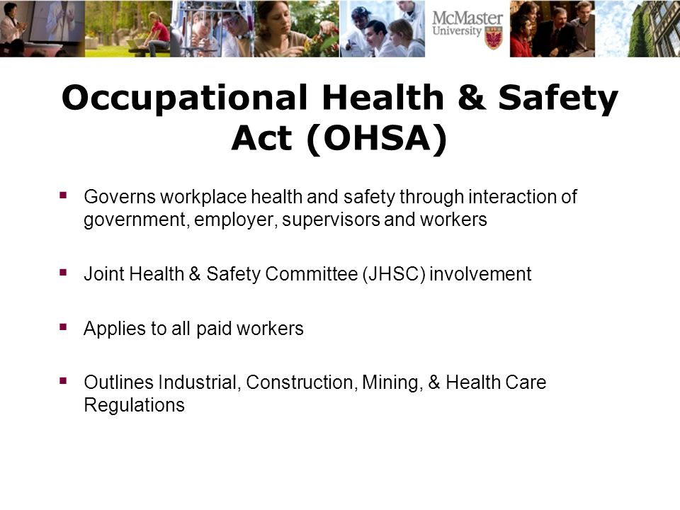 occupational safety and health and committee Advise the environment, health, and safety department regarding issues in the laboratory and chemical safety committee occupational health and clinical safety.