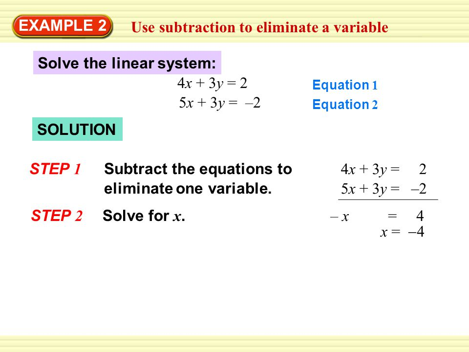 Use subtraction to eliminate a variable