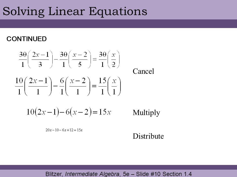 Blitzer, Intermediate Algebra, 5e – Slide #10 Section 1.4