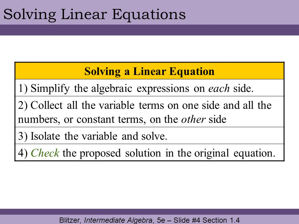 Solving a Linear Equation