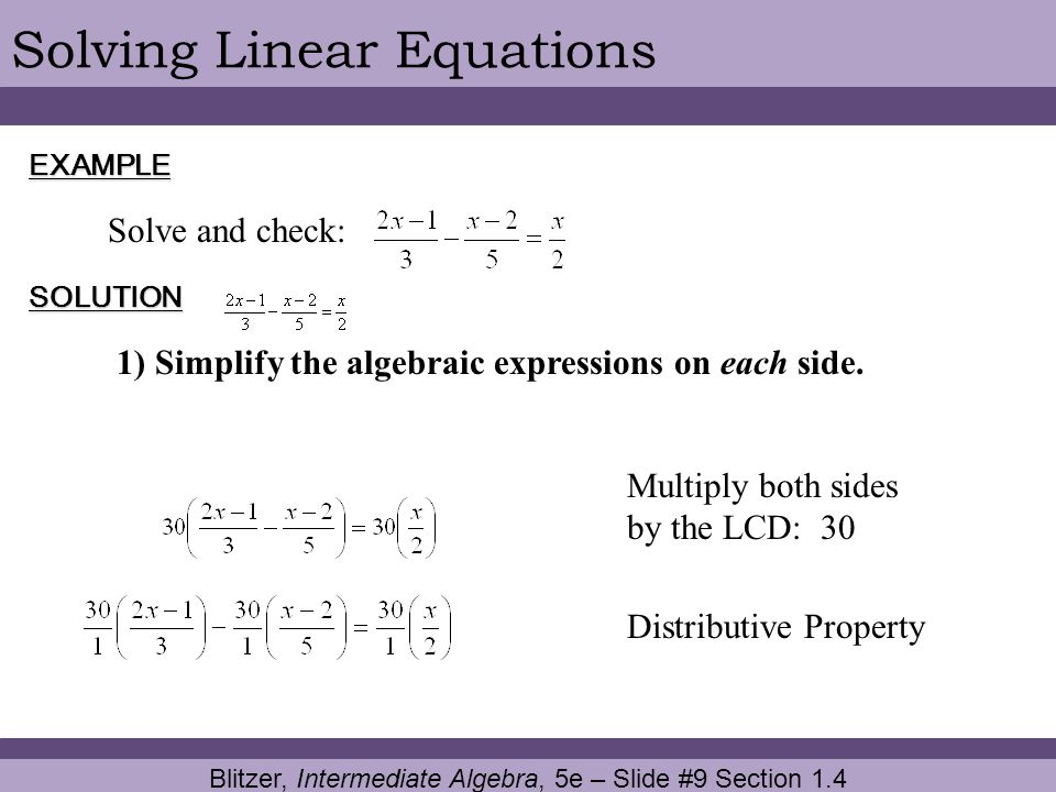 Blitzer, Intermediate Algebra, 5e – Slide #9 Section 1.4