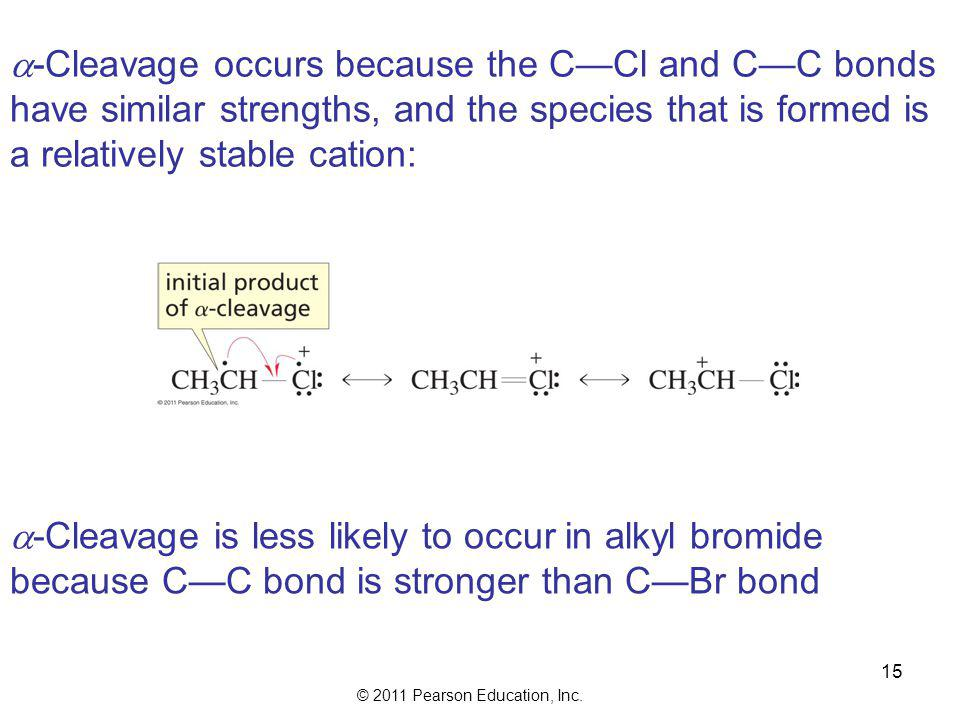 a-Cleavage occurs because the C—Cl and C—C bonds