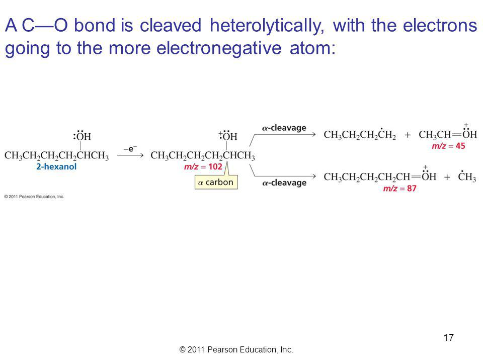 A C—O bond is cleaved heterolytically, with the electrons