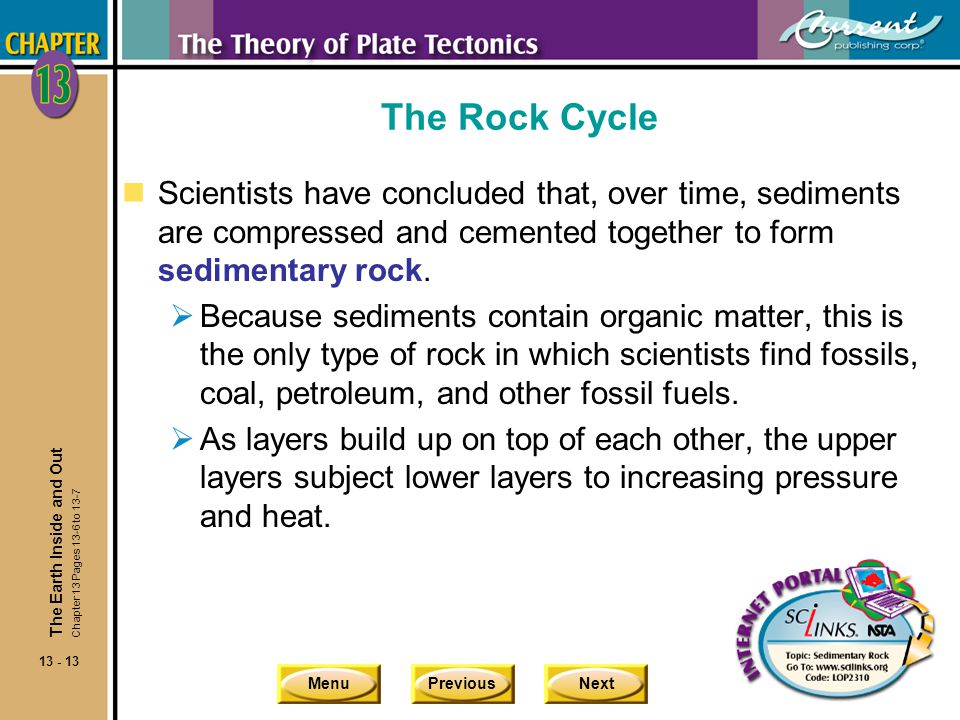 The Rock Cycle Scientists have concluded that, over time, sediments are compressed and cemented together to form sedimentary rock.