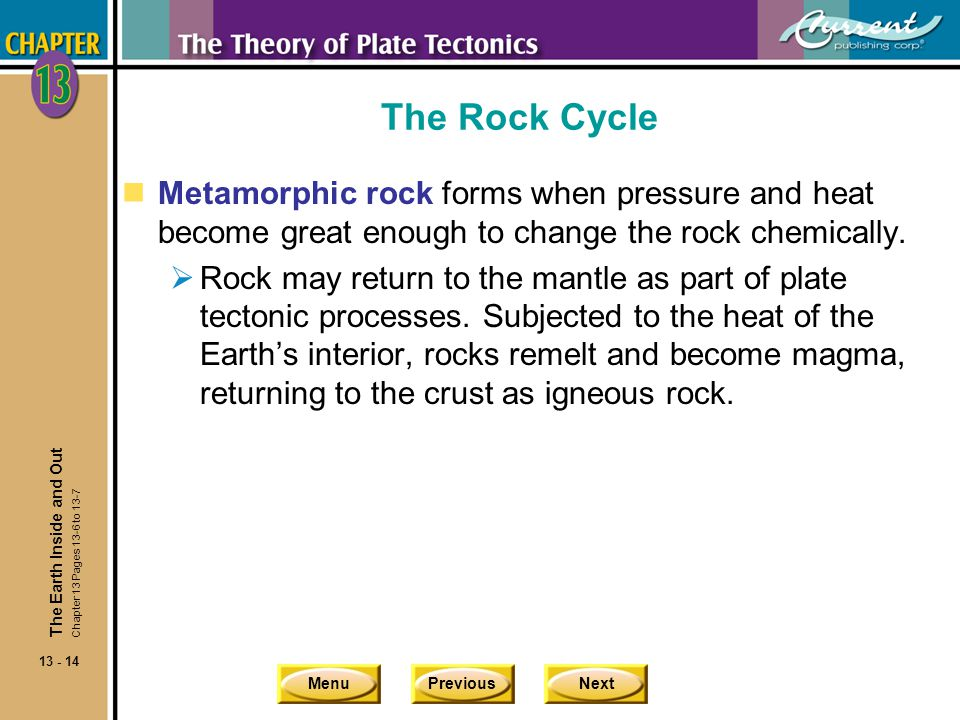 The Rock Cycle Metamorphic rock forms when pressure and heat become great enough to change the rock chemically.
