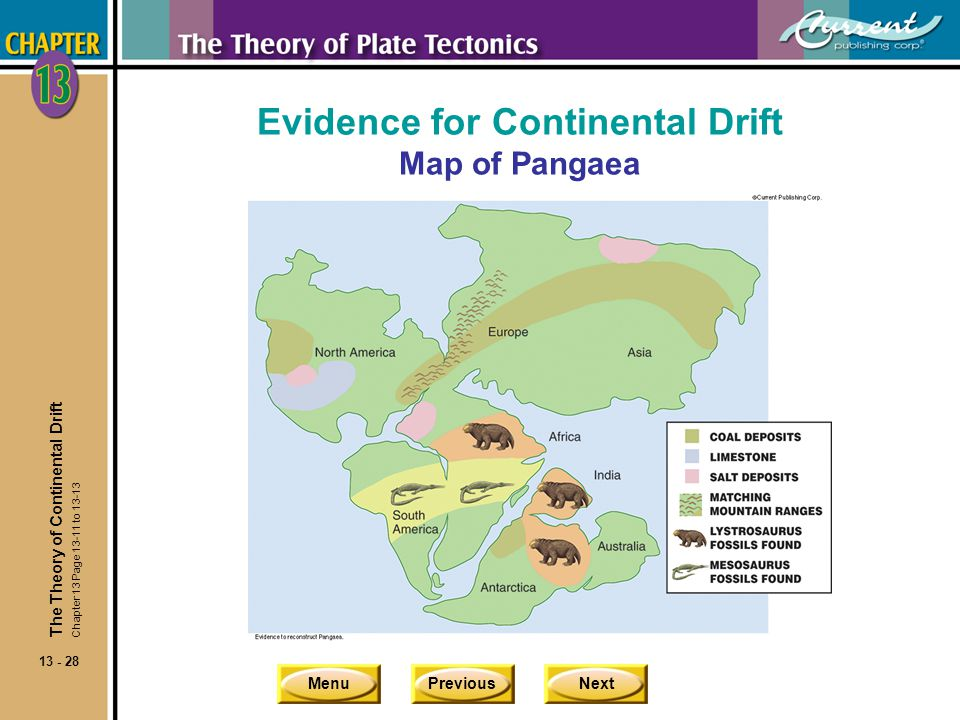 Evidence for Continental Drift Map of Pangaea