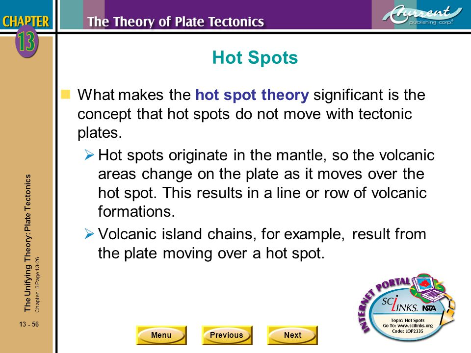 Hot Spots What makes the hot spot theory significant is the concept that hot spots do not move with tectonic plates.