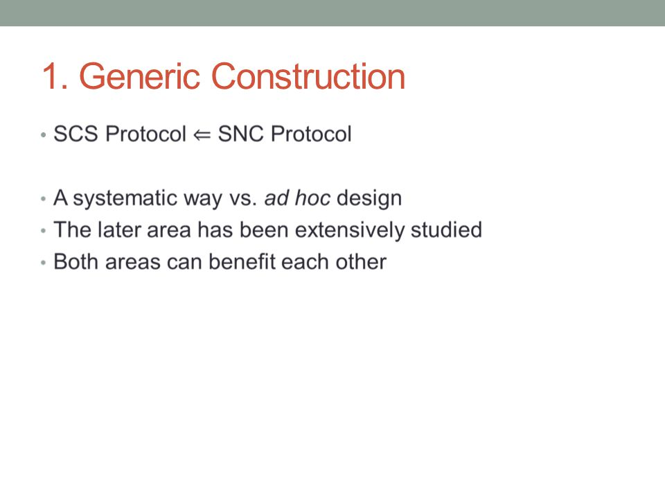 1. Generic Construction