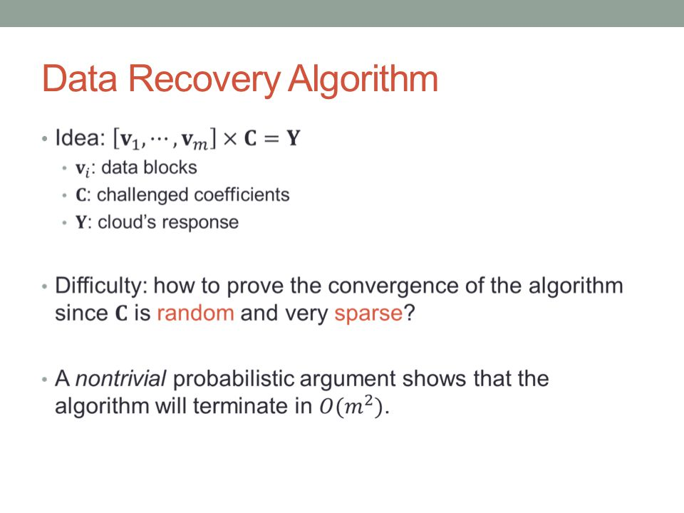 Data Recovery Algorithm