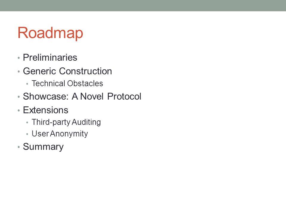 Roadmap Preliminaries Generic Construction Showcase: A Novel Protocol