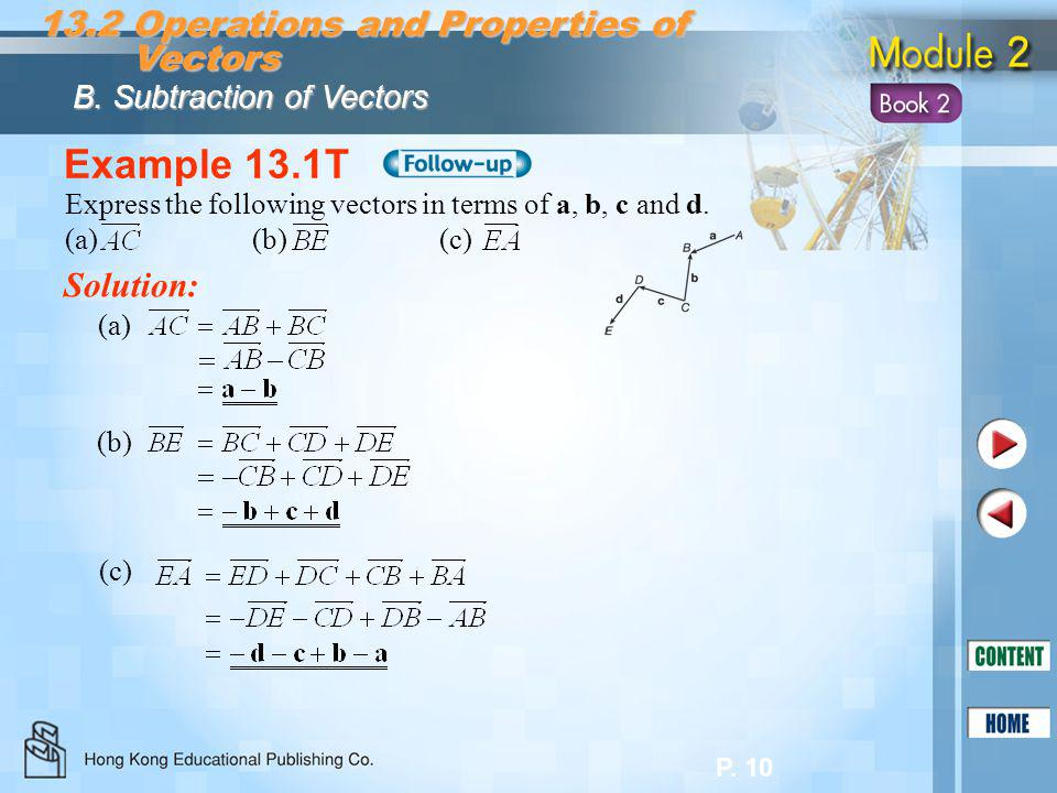 Example 13.1T 13.2 Operations and Properties of Vectors Solution: