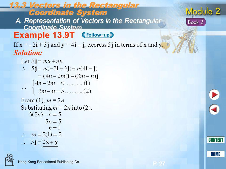 Example 13.9T 13.3 Vectors in the Rectangular Coordinate System