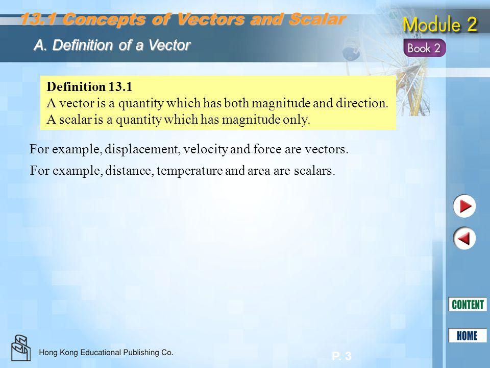 13.1 Concepts of Vectors and Scalar