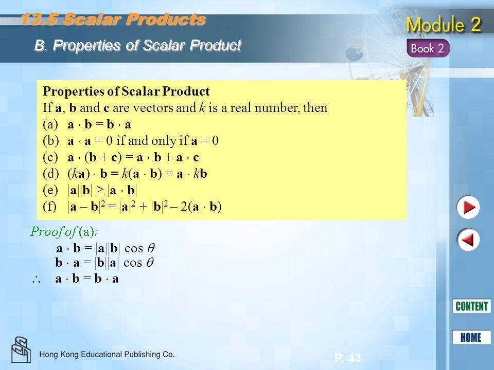 13.5 Scalar Products B. Properties of Scalar Product