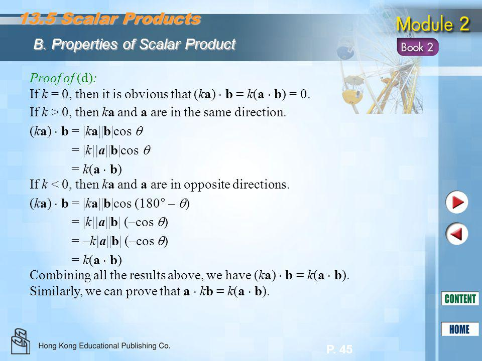13.5 Scalar Products B. Properties of Scalar Product Proof of (d):