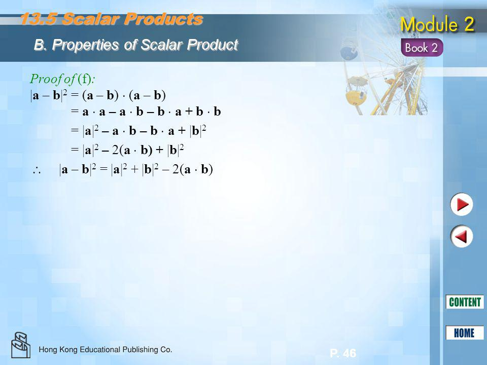 13.5 Scalar Products B. Properties of Scalar Product Proof of (f):