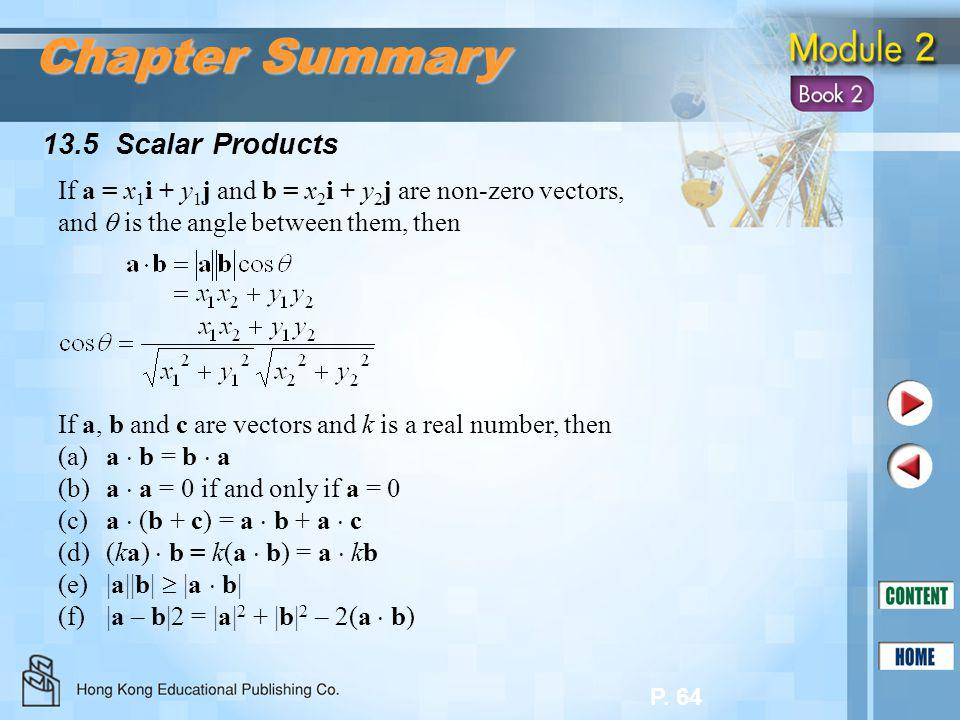 Chapter Summary 13.5 Scalar Products