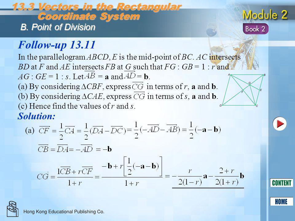 Follow-up 13.11 13.3 Vectors in the Rectangular Coordinate System