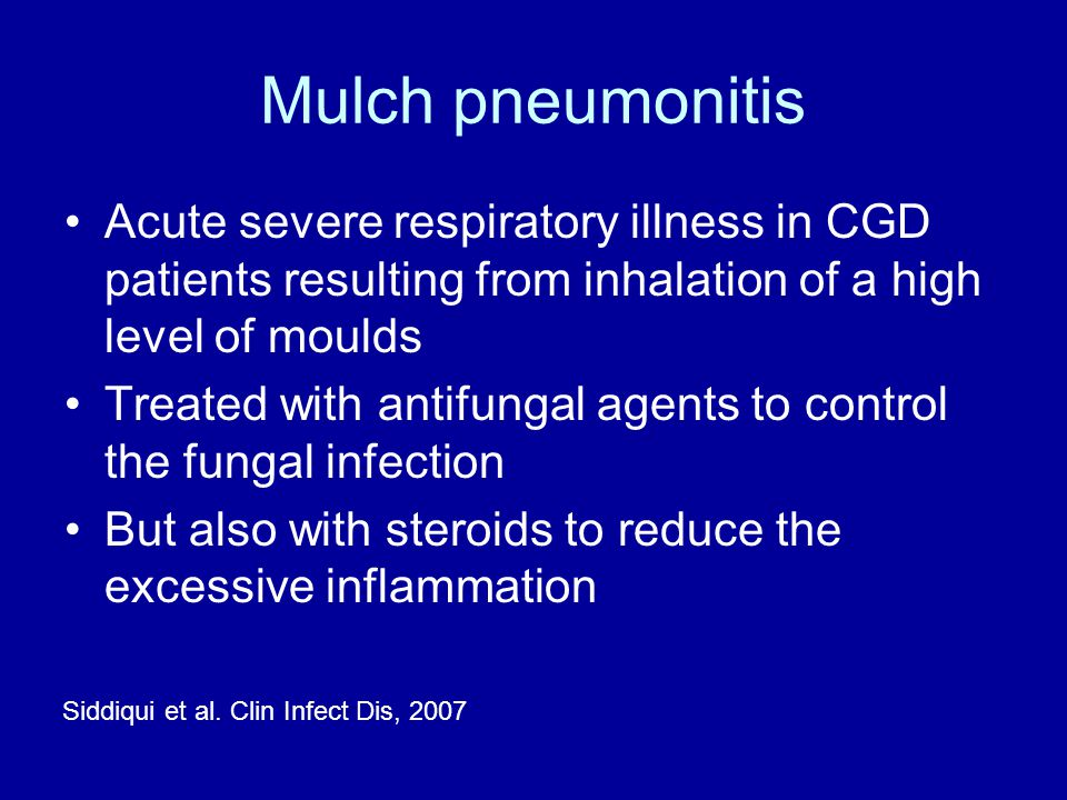 Mulch pneumonitis Acute severe respiratory illness in CGD patients resulting from inhalation of a high level of moulds.