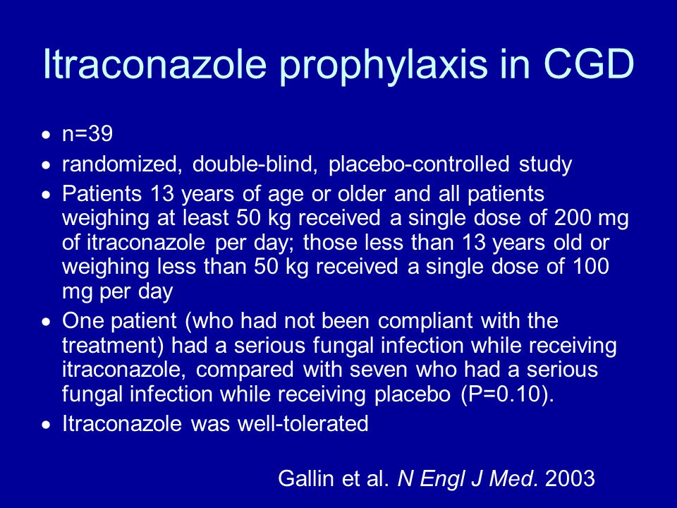 Itraconazole prophylaxis in CGD