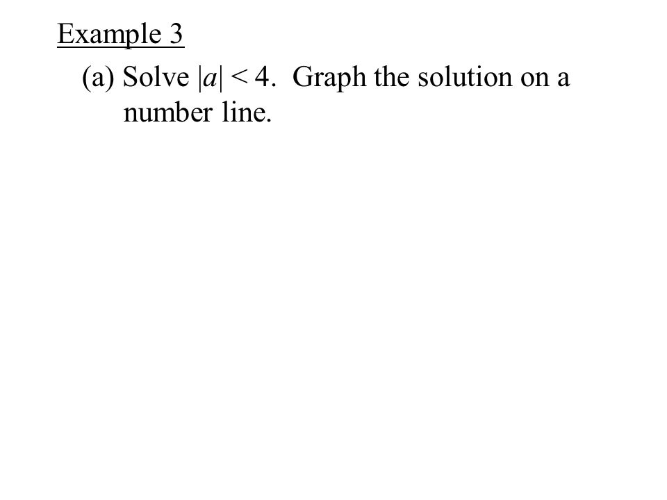 Example 3 (a) Solve |a| < 4. Graph the solution on a number line.