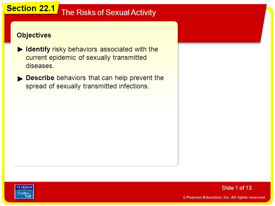 Section 22.1 The Risks of Sexual Activity Objectives