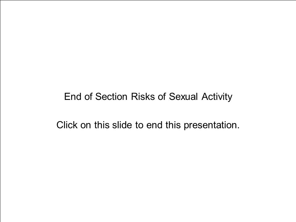End of Section Risks of Sexual Activity