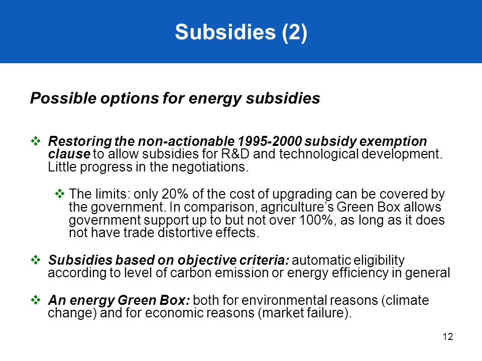 Subsidies (2) Possible options for energy subsidies