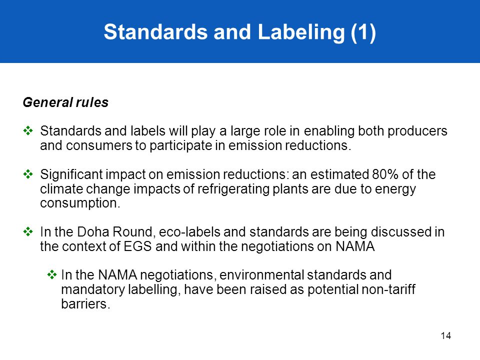 Standards and Labeling (1)