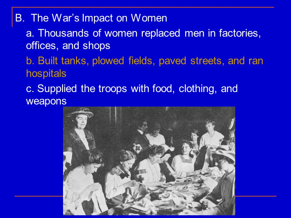 B. The War's Impact on Women