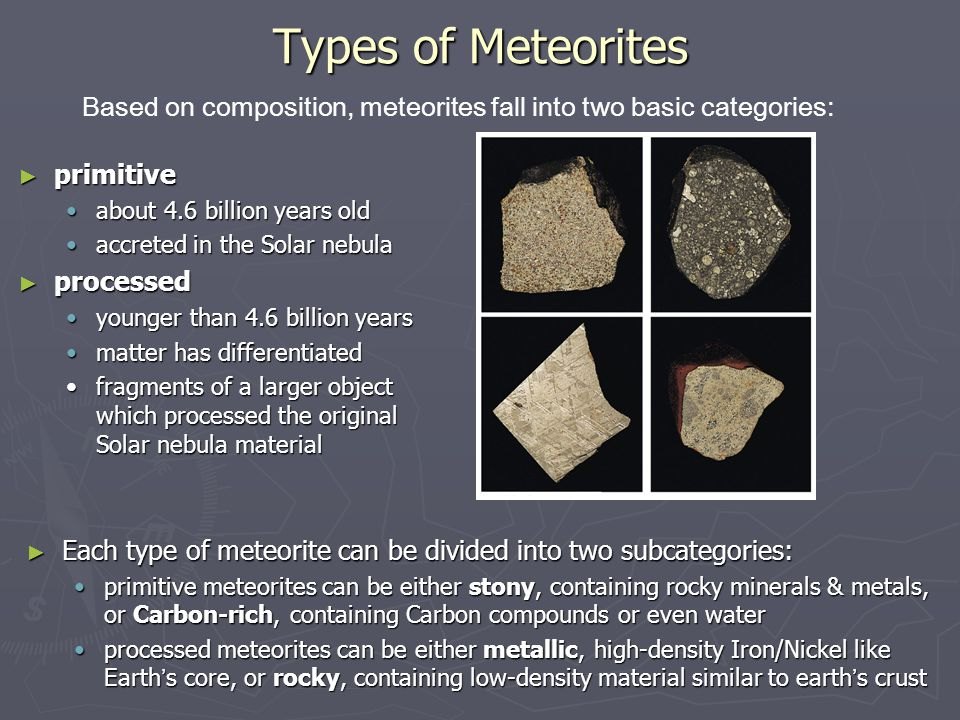 Types of Meteorites Based on composition, meteorites fall into two basic categories: primitive. about 4.6 billion years old.