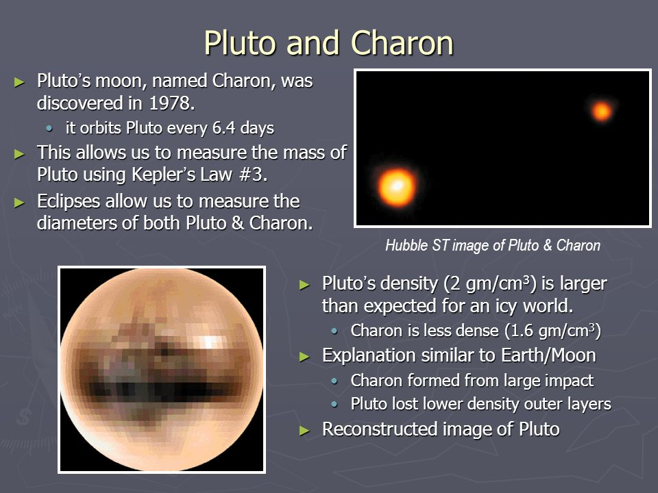 Pluto and Charon Pluto's moon, named Charon, was discovered in 1978.