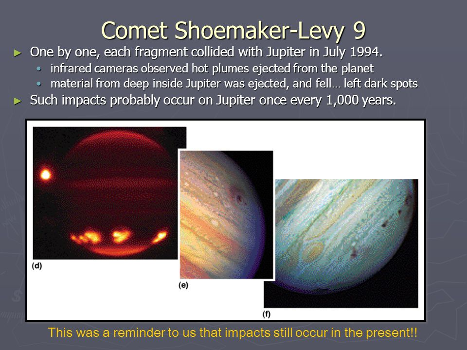 Comet Shoemaker-Levy 9 One by one, each fragment collided with Jupiter in July 1994. infrared cameras observed hot plumes ejected from the planet.
