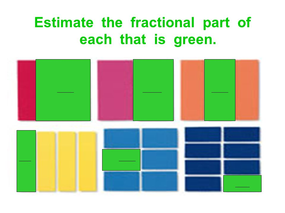 Estimate the fractional part of each that is green.