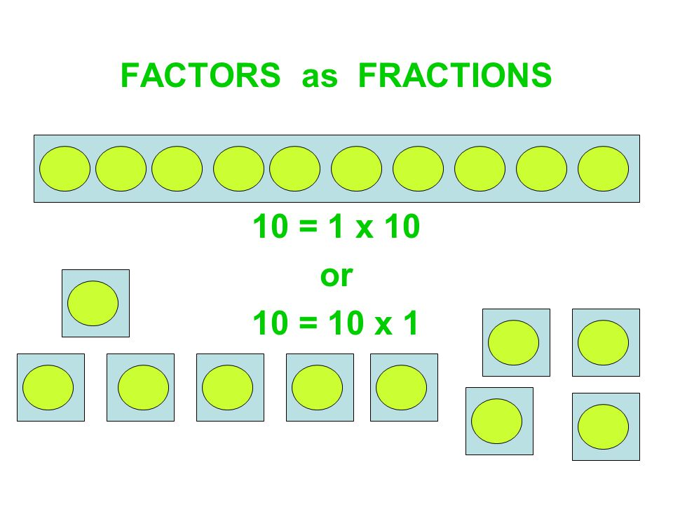 FACTORS as FRACTIONS 10 = 1 x 10 or 10 = 10 x 1