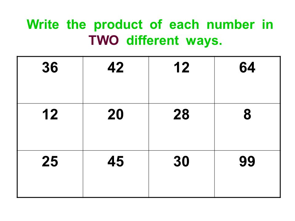 Write the product of each number in TWO different ways.