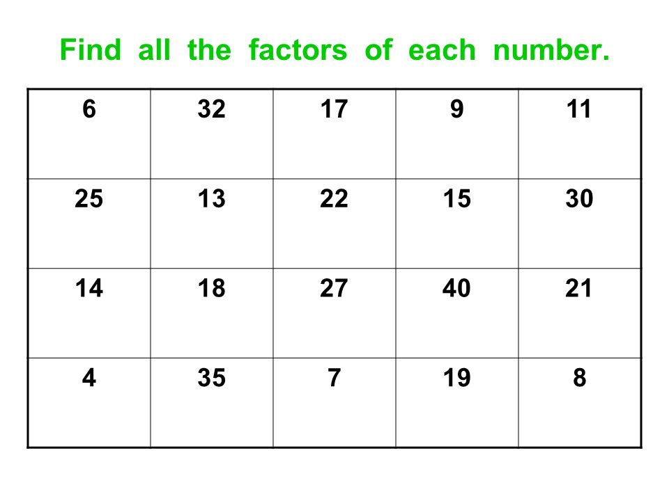 Find all the factors of each number.