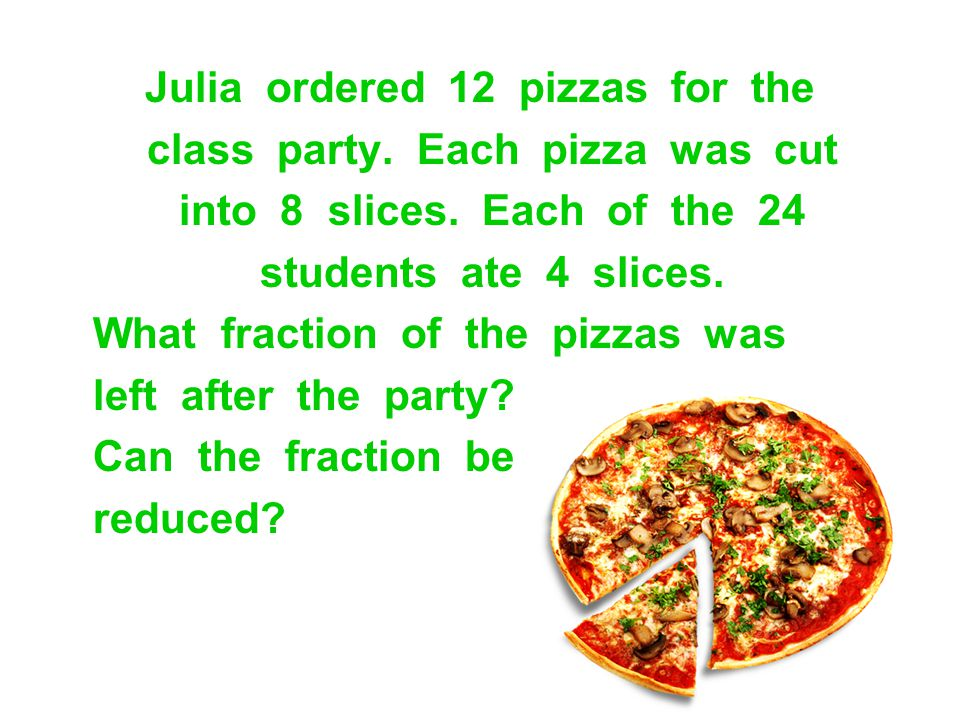 Julia ordered 12 pizzas for the class party. Each pizza was cut