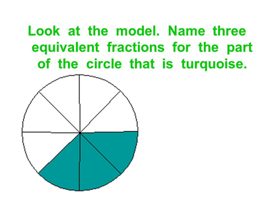 Look at the model. Name three equivalent fractions for the part of the circle that is turquoise.