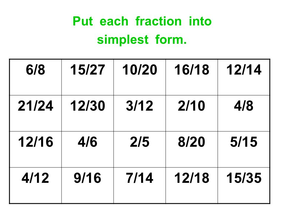 Put each fraction into simplest form. 6/8. 15/27. 10/20. 16/18. 12/14. 21/24. 12/30. 3/12.