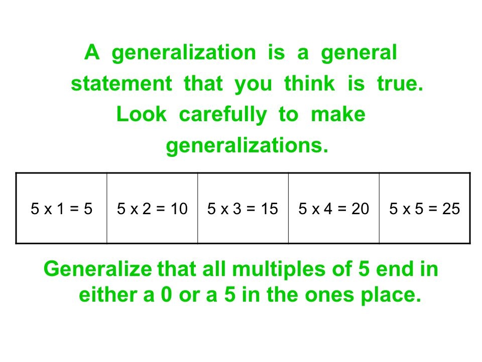 A generalization is a general statement that you think is true.