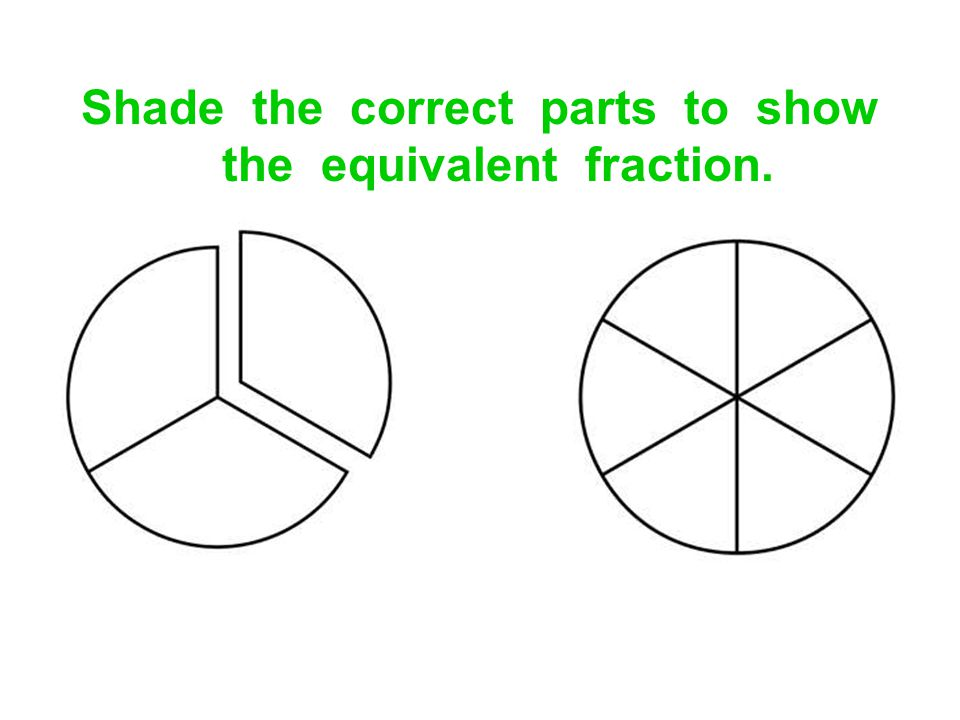Shade the correct parts to show the equivalent fraction.