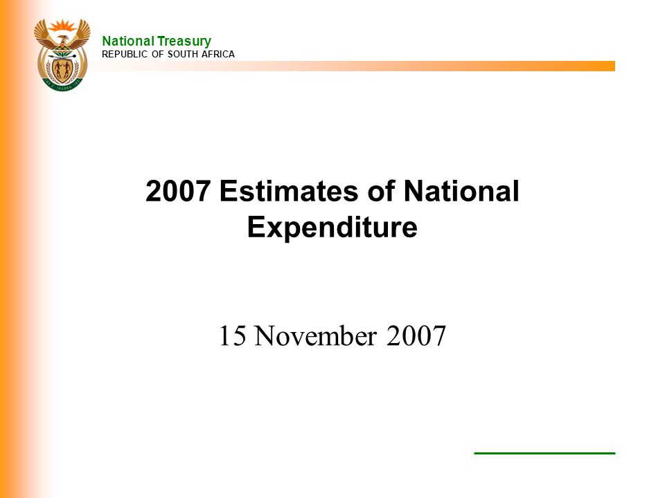 2007 Estimates of National Expenditure
