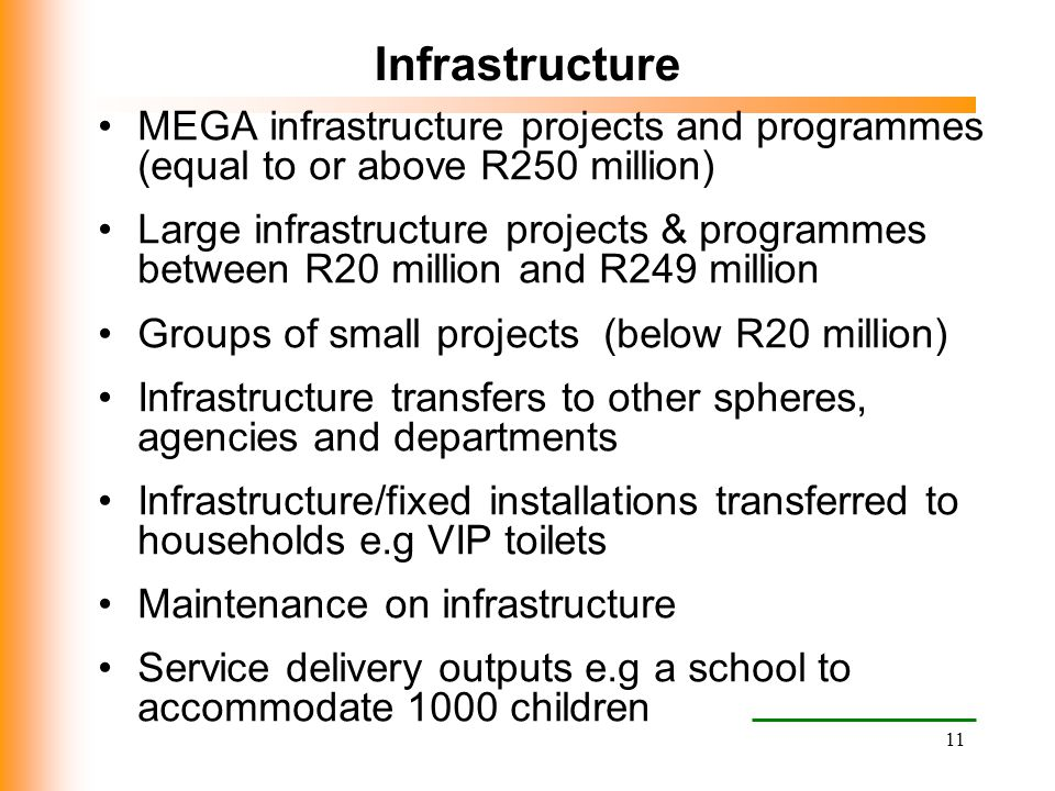 Infrastructure MEGA infrastructure projects and programmes (equal to or above R250 million)