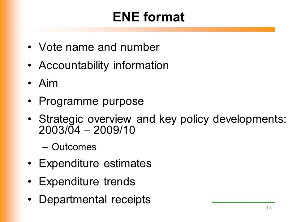 ENE format Vote name and number Accountability information Aim