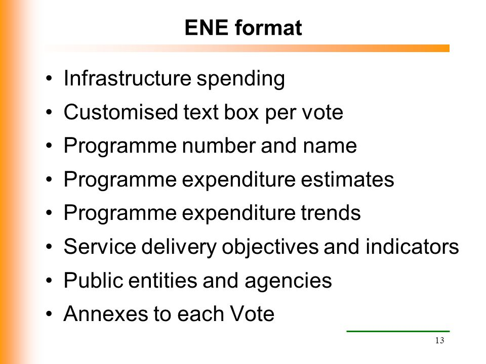 ENE format Infrastructure spending. Customised text box per vote. Programme number and name. Programme expenditure estimates.